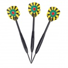 013 Dartboard Pattern Sharp Tungsten-plated Iron Plastic Darts - Black + Yellow + Red + Green (3PCS)