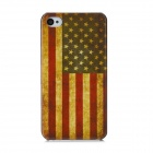 Retro American Flag Pattern Protective Plastic Back Case for Iphone 4 / 4S - Red + Yellow + Blue