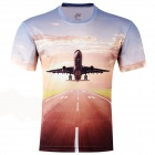 laonongzhuang Fashion Plane Flying Pattern T-shirt for Men - Light Blue + Reddish Brown (Size XXXL)