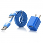 AC Power Charger Adapter + Flat 30-Pin to USB Data Sync / Charging Cable for iPhone 4 / 4S - Blue