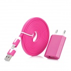 AC Charger w/ USB Male to 8 Pin Lightning Flat Cable for iPhone 5 - Deep Pink (100~240V / EU Plug )
