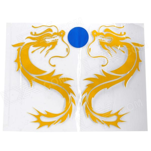 Double Dragon Pattern Auto Decoratie Sticker - Geel