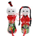 Traditional Ceramic Fortune Blessing Dolls (2-Piece Set)