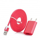 AC Charger w/ USB Male to 8 Pin Lightning Flat Cable for iPhone 5 - Red (100~240V / EU Plug)