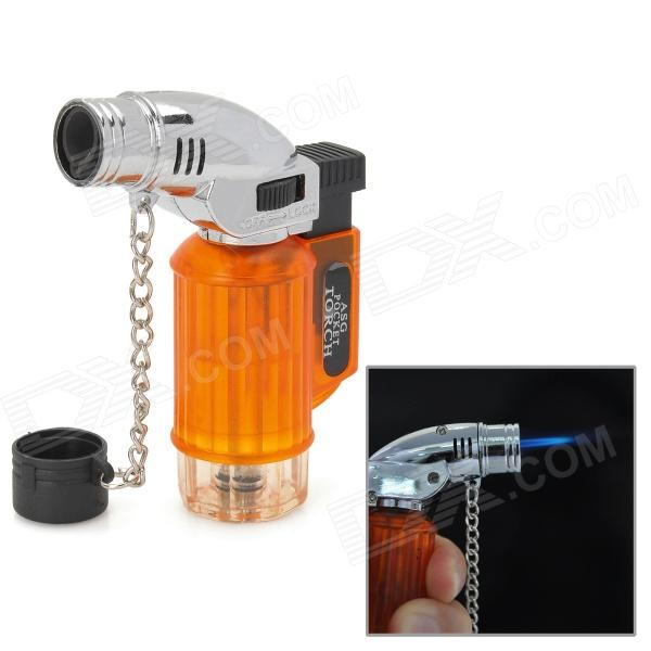 355 1300 Centigrade Windproof Blue Flame Butane Jet Torch Lighter - Translucent Orange + Silver