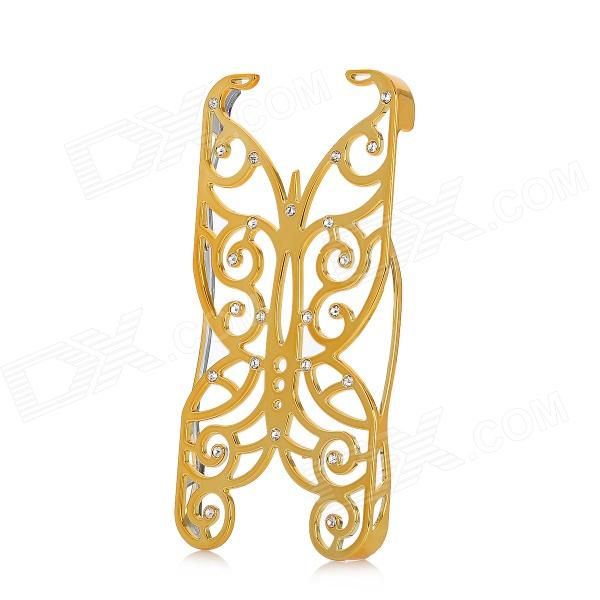 Protective Hollow-Out Imitation Diamant Butterfly Style Kunststoff zurück Fall für iPhone 5 - Golden