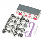 4-in-1 Toenail Pedicure File + Brush + Separators Set - Grey + White + Purple