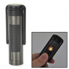 USB Rechargeable Windproof Electronic Cigarette Lighter w/ Shaver - Deep Grey + Black