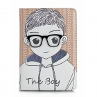 Cute Boy Pattern Protective PU Leather Case for Ipad MINI - Brown