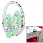 JINSIDUN GL5133 Shoe Style Zinc Alloy + Rhinestone Folding Locking Hook - Silver + Pale Green