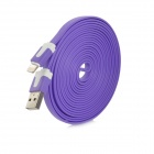 USB Male to Lightning 8-Pin Male Charging Data Flat Cable for iPhone 5 / iPad 4 - Purple (3m)
