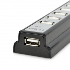 De alta velocidad 10-Port USB 2.0 Hub w / Power Supply - Negro + Gris Plata