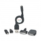 Retractable USB Charging Cable + 4 Adapters for iPhone / Samsung / iPad + More - Black