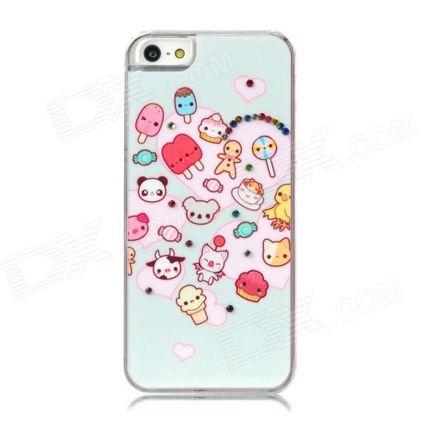 D4-026 Protective Cute Cartoon Pattern w/ CrystalBack Case - Light Blue + Pink cute girl pattern protective rhinestone decoration back case for iphone 5 light pink light blue