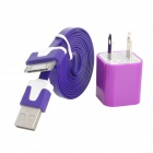 USB US Plug Power Adapter + USB Male to Apple 30pin Flat Cable - Purple