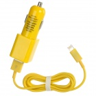 Dual-USB Car Charger + Lightning 8-Pin Male Cable for iPhone 5 / iPad 4 / Mini - Yellow (DC 12~24V)