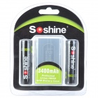 "Soshine recargable 3.7V ""3400mAh"" Li-Ion 18650 Baterías Set - Negro (2 PCS)"