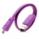 Flat Mini USB 5-Pin Male to USB 2.0 Male Data / Charging Cable - Purple (33cm)