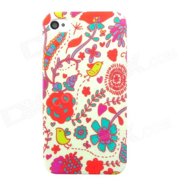 Protective Flower Pattern Plastic Back Case for Iphone 4 / 4S - Multicolored water drops style protective plastic back case for iphone 4 blue