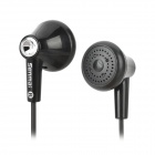 Senmai SM-E503 Stylish Stereo In-Ear Earphones w/ Clip - Black + Silver (3.5mm Plug / 120cm-Cable)