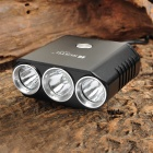 RUSTU XM-L T6 + 2 x XP-G R5 1400lm 5-Mode White Bicycle Light - Black (4 x 18650)