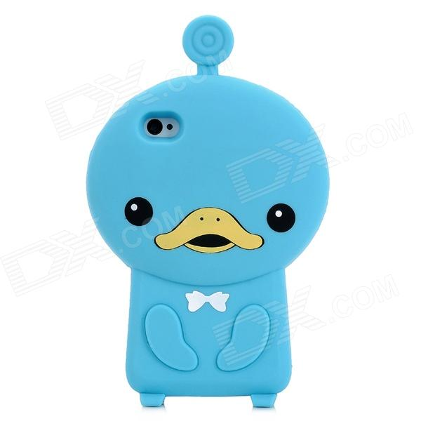 Cute Duck Style Protective Soft Silicone Back Case for Iphone 4 / 4S - Blue cool skull head style protective soft silicone back case for iphone 4 4s pink