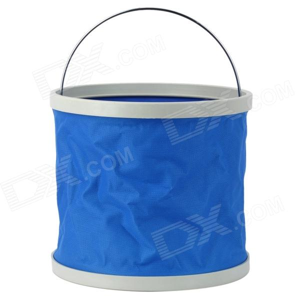 Portable Folding Water Bucket for Car Washing / Camping / Fishing - Blue + White