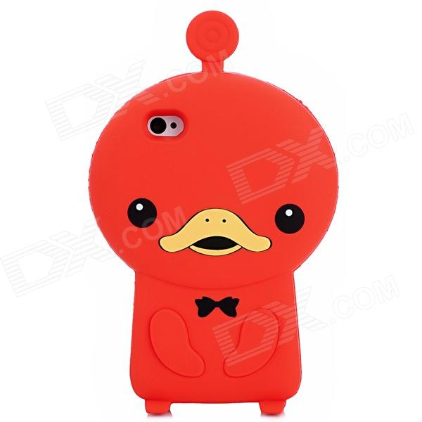 Cute Duck Style Protective Soft Silicone Back Case for Iphone 4 / 4S - Red ziqiao cartoon cat style protective soft silicone back case for iphone 4 4s black red