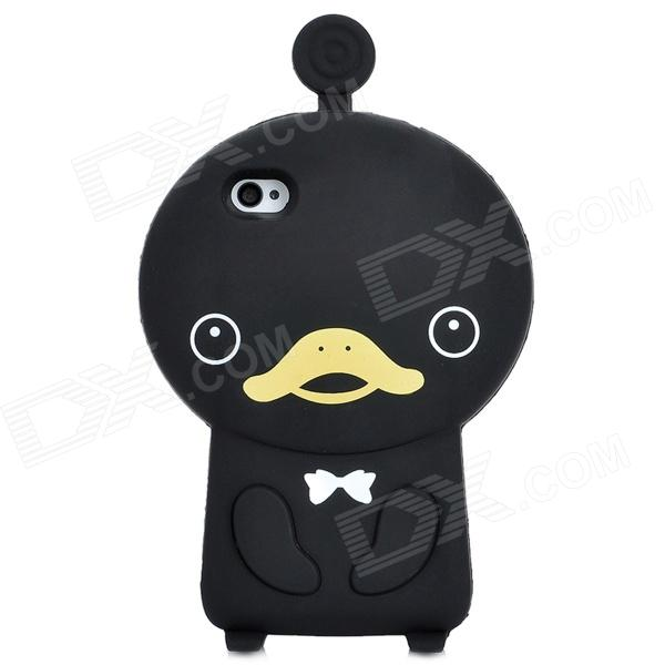 Cute Duck Style Protective Soft Silicone Back Case for Iphone 4 / 4S - Black ziqiao cartoon cat style protective soft silicone back case for iphone 4 4s black red