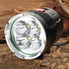 RUSTU D66 3000lm 3-Mode White Bicycle Light / Headlamp w/ 4 x Cree XM-L T6 - Black (6 x 18650)