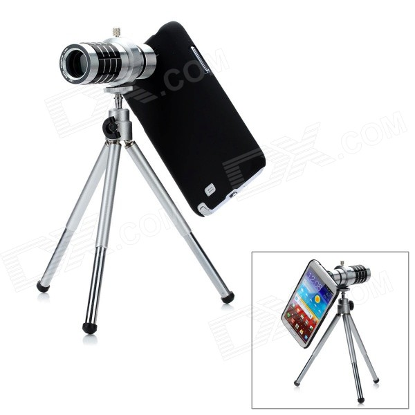 12X Optical Zoom Telescope Camera Lens w/ Back Case for Samsung Galaxy Note 2 N7100 - Silver + Black replacement back camera circle lens for samsung galaxy s5 g900 black