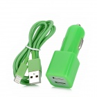 Dual USB Car Cigarette Lighter Charger + USB Data Cable for iPhone 5 / Touch 5 / iPad Mini - Green