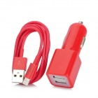 Dual USB Car Cigarette Lighter Charger + USB Data Cable for iPhone 5 / Touch 5 / iPad Mini - Red