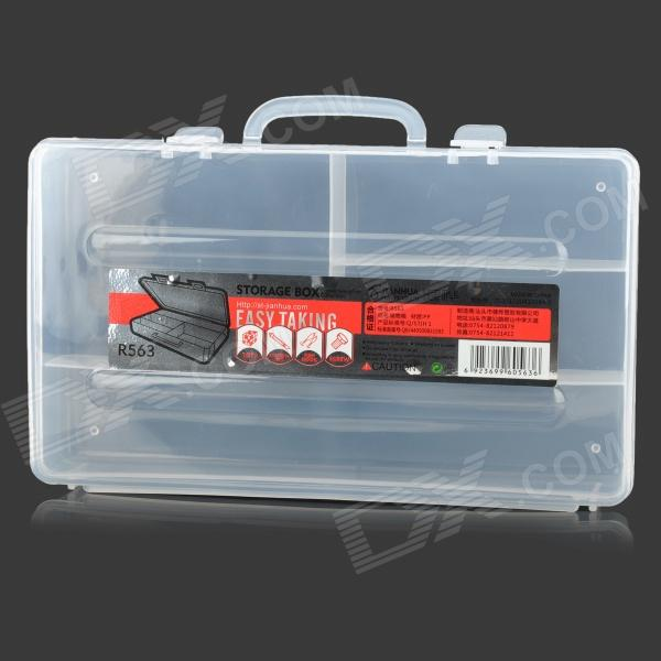 PP Plastic 4-Square Cosmetic Accessories Storage Box - Transparent