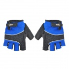 Cycling Half-finger Gloves - Black + Sapphire Blue (Size L / Pair)