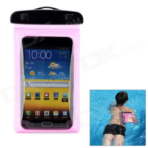 Protective Waterproof Bag Dry Case for Samsung Galaxy Note 2 N7100 + More - Translucent Pink + Black cute 3d cartoon penguin style protective silicone soft back case for iphone 4 4s green white