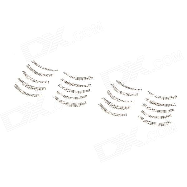 Natural Straight Fiber Artificial Lower Eyelashes Set - Black (10 Pairs)