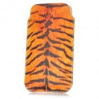 Protective Tiger Print PU Leather Pouch für iPhone 4 / 4S - Gelb + Schwarz