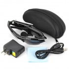 SM09 Rechargeable 380mAh UV Protection Interphone Sunglasses Walkie Talkie w/ US Plugs - Black