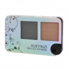 XueYinzi 5001 2-in-1 Cosmetic Makeup Eyebrow Powder w/ Brush - Dark Brown + Black