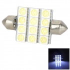 Lgfox 40mm-12SMD Festoon 40mm 1W 120lm 12-SMD 5050 LED White Car Reading / Daytime Running Light