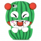 Protective 3D Watermelon Boy Style Silicone Case for Iphone 4 / 4S - Green + White