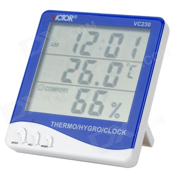 20647 Plastic 4 LCD Digital Thermometer / Hygrometer w/ Alarm Clock - Blue + White (1 x AAA) pro skit nt 312 digital 2 lcd temperature humidity tester white black 1 x aaa