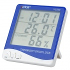 "20647 Plastic 4"" LCD Digital Thermometer / Hygrometer w/ Alarm Clock - Blue + White (1 x AAA)"