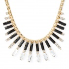 Bar Type Elegant Crystal Necklace - Black + White + Golden