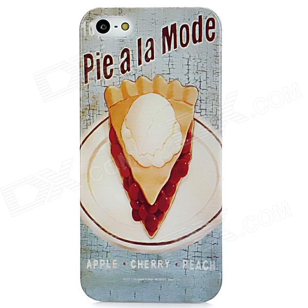 Retro Pie Pattern Protective Plastic Back Case for Iphone 5 - Light Blue + White + Yellow cute girl pattern protective rhinestone decoration back case for iphone 5 light pink light blue