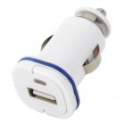 002 1000mAh USB Car Cigarette Lighter Charger w/ Pulling Ring - White