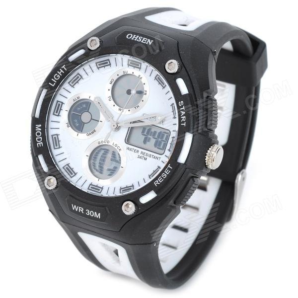 OHSEN AD1202-W Men's Sport Analog + Digital Quartz Wrist Watch - Black + White (1 x SR626)