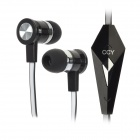 LC-CCY Flat Cable In-Ear Earphones w/ Mic for Iphone 5 - Black + White (3.5mm Plug / 109cm-Cable)