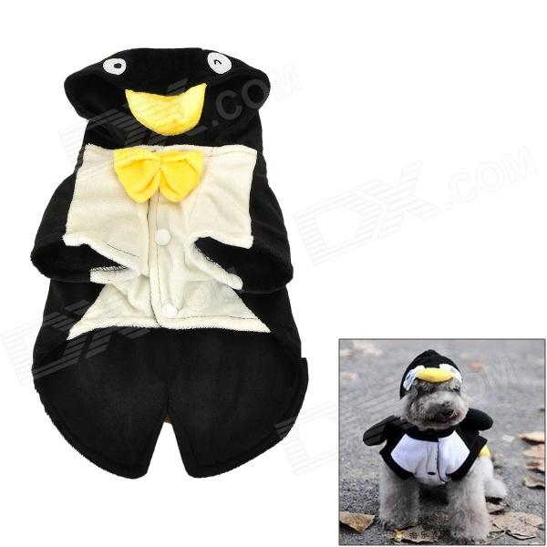 QQ Penguin Shaped Cotton Velvet hondenkleding Pet Doek - Black + White (maat XL)